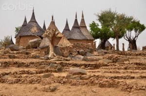 Village with typically thatched rondavels in the Mandara Mountains, Cameroon, Central Africa, Africa