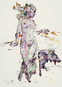 An illustration of a woman and animals made up of a collection of colorful fragments